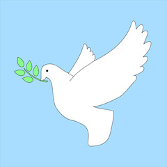 white dove peace branch vector