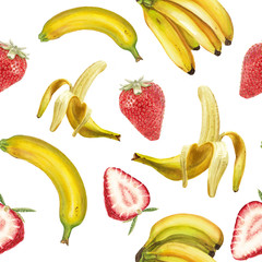 Watercolor banana and strawberry pattern