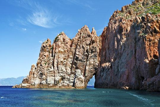 Capo Rosso rocks of Calanques de Piana in Corsica