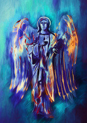 Colorfull divine angel. Contemporary art.