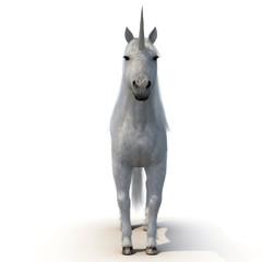 Unicorn on White 3D Illustration