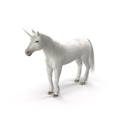 Unicorn on White 3D Illustration
