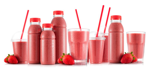 Strawberry smoothie in many kinds of glasses and bottles