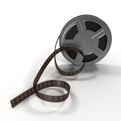 Movie film reel on white 3D Illustration