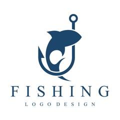 Fishing Logo, Hook, Fishing Rod, Simple Design Logo Template
