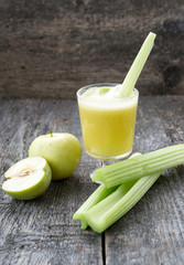 Freshly squeezed juice from a celery and apples