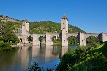 The Valentre bridge in Cahors town, France