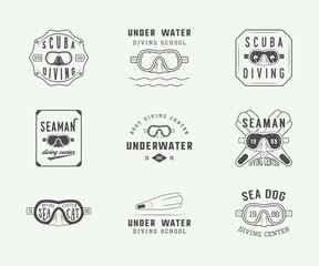 Set of vintage scuba diving logos, labels, badges and emblems.