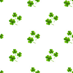 Fresh leafs clover seamless pattern
