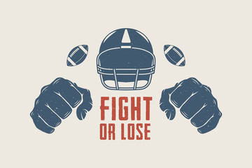 American football or rugby motivation with helm, fists