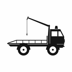 Car towing truck icon, simple style