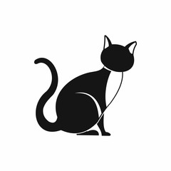 Black cat icon, simple style