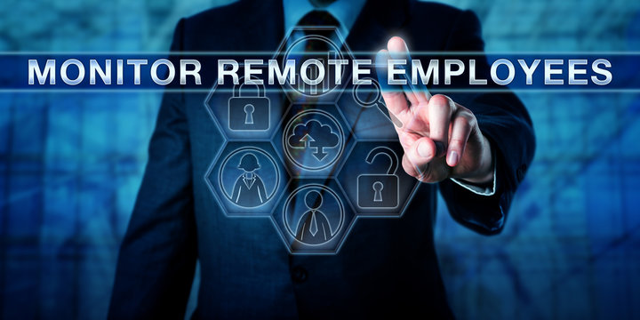HR Manager Pressing MONITOR REMOTE EMPLOYEES