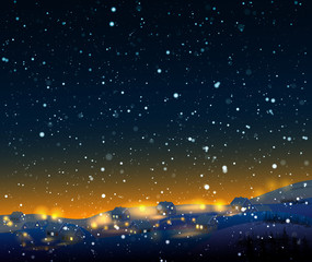 Night winter  landscape with snow