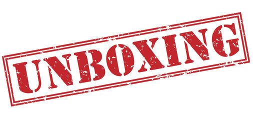 unboxing red stamp on white background