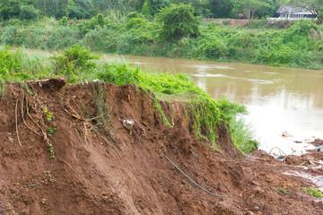 Landslide river debris.