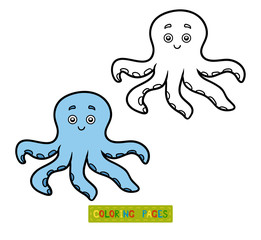 Coloring book for chilren, little octopus