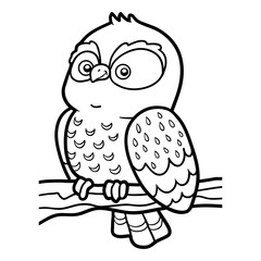 Coloring book for chilren, little owl