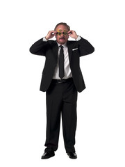 mature businessman with dollar sunglasses.