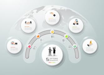 Obraz Design business circle concept infographic, can be used for workflow layout, diagram, number option - fototapety do salonu