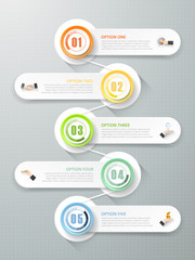 Abstract 3d infographic template 5 steps, can be used for workflow layout, diagram, number option