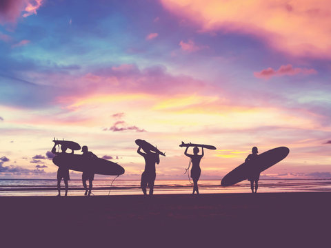 Silhouette Of surfer people