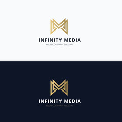 Infinity media M letter vector logo template.