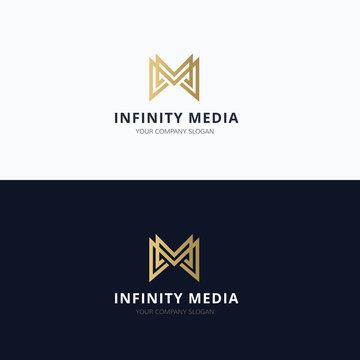 Infinity media M letter vector logo template.