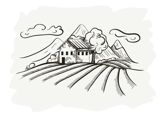 vector doodle image of village and landscape
