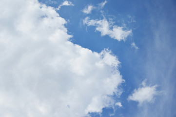Mostly cloud and blue sky.