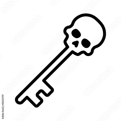 skeleton key or skull key line art icon for games and apps stock rh fotolia com skeleton key clip art free Skeleton Key Clip Art Graphics