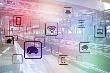 smart transportation, wireless communication network, abstract image visual