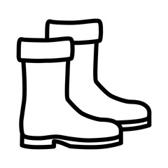 Pair of medieval shoes / boots line art icon for games and websites