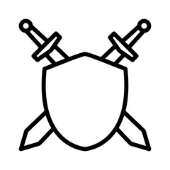 Swords / blades crossed sheath in shield line art icon for games and websites