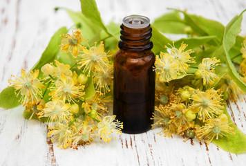 bottle of essential linden oil