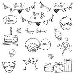 Hand draw birthday doodle