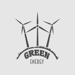 Green energy vector logo, sign or symbol template with wind power plant illustration. Wind farm silhouette