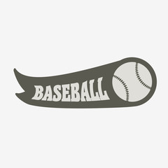 Baseball logo, badge or label design concept with ball and ribbon