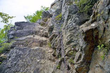 登山道の鎖場