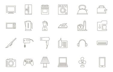 Appliances black icons set