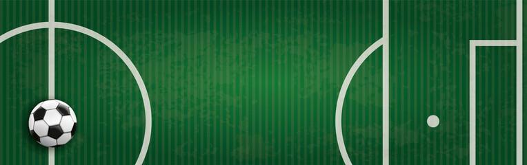Fussball Header mit einem Spielfeld und gestreiftem Hintergrund
