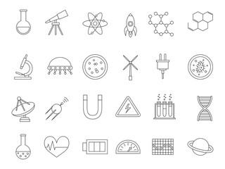 Science black icons set