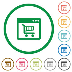 Webshop outlined flat icons