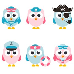 set of sailor owls isolated on white