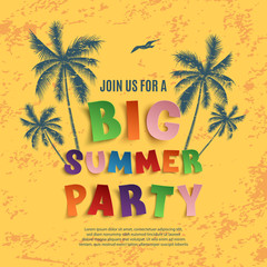 Big summer party poster template.