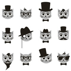 retro gentleman and hipster cat icons set