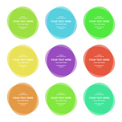 Set of colorful round banners. Abstract shapes for design with sample text.