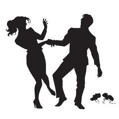 Businessman and businesswoman dancing black silhouette figure