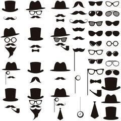 Black retro gentleman icons set