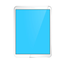 White tablet with a blank blue screen